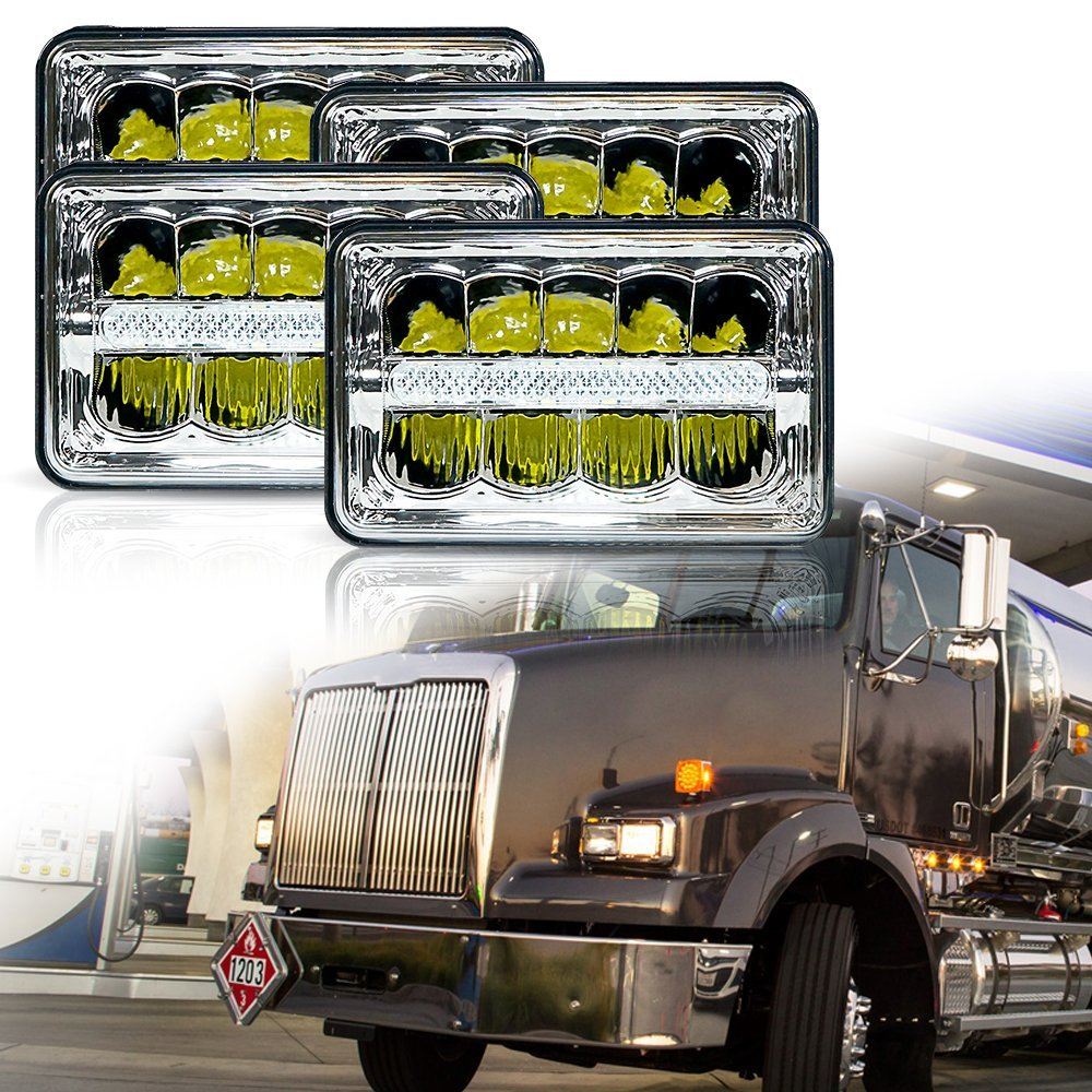 4X6 INCH Rectangular Sealed Beam LED Headlights  Hi/Lo Beam w/DRL Replace for H4651 H4652 H4656 H4666 H4668 H6546 Truck car light 4x6 inch rectangular led work light drl hi lo beam headlight for peterbilt freightliner truck 4pcs set