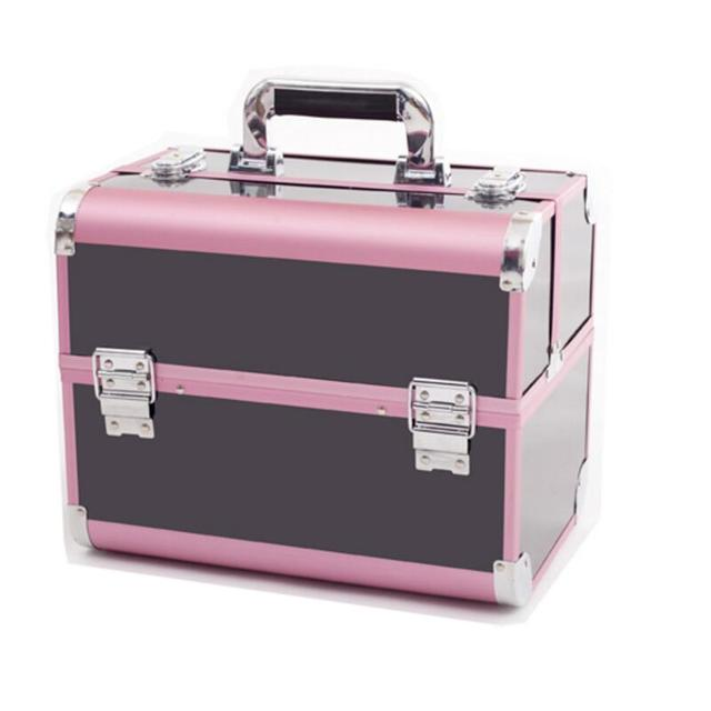 Pink Black Makeup Organizer,Portable Makeup Storage Box,Women Travel Make  Up Organizer Case