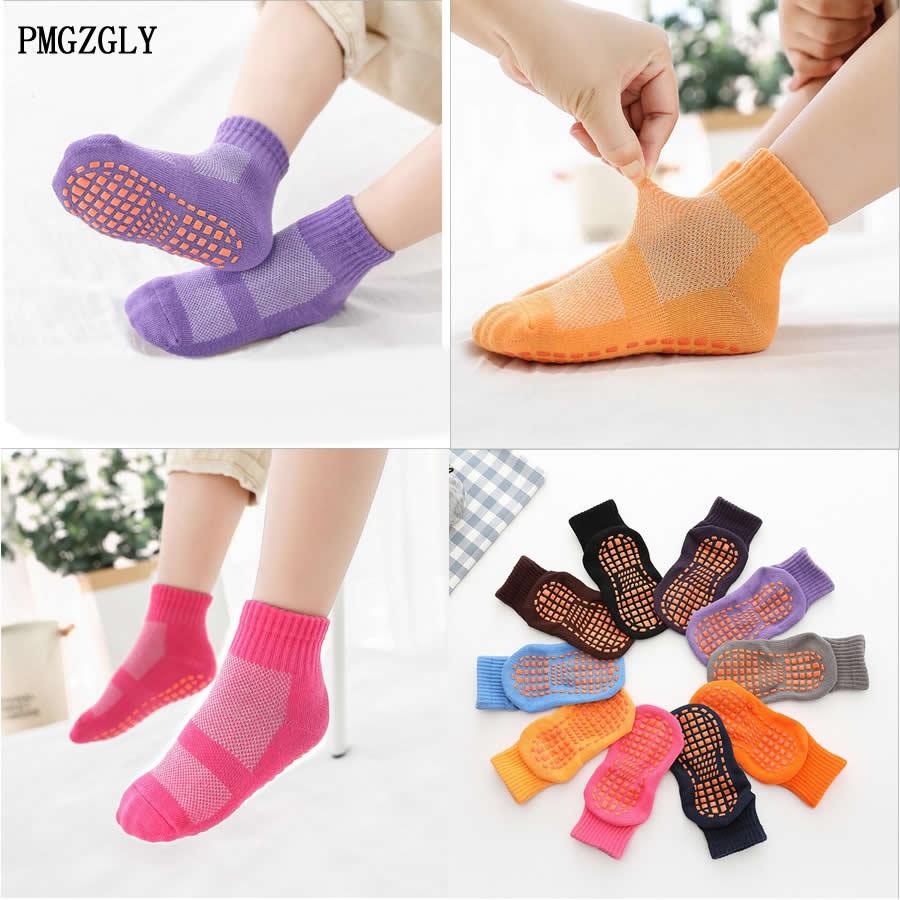 Kids Socks Autumn / Winter Warm Non-slip Floor Socks Boy Cotton Candy Color Socks 1 To 10 Girls Cotton Sport Socks