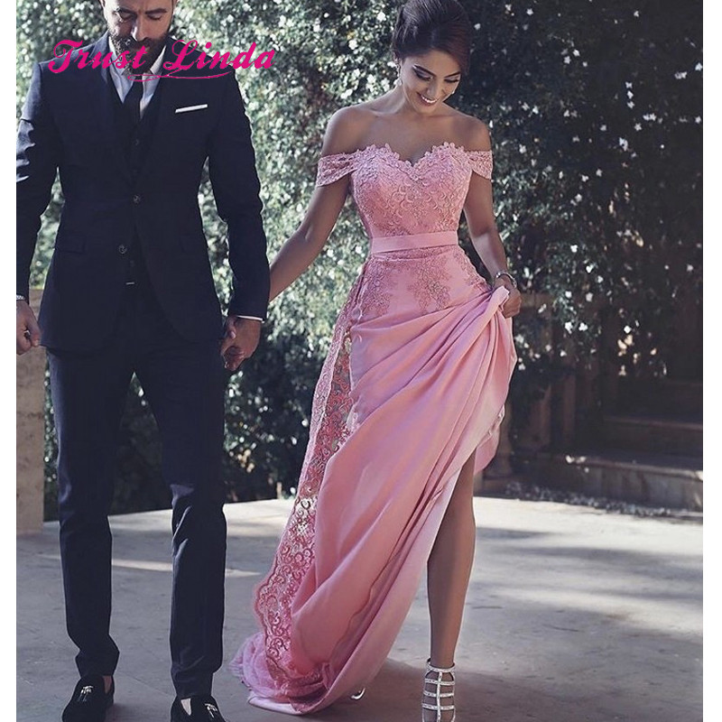 Pink Bride Maid Dresses For weddings Off The Shoulder Sweetheart Appliques Long Dresses For Wedding Party Dress Women Wedding(China)