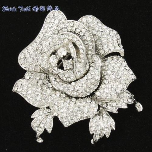 Rhinestone Crystals Cute Clear Rose Flower Brooch Broach Pin 2 1 Wedding Bridal FB1077