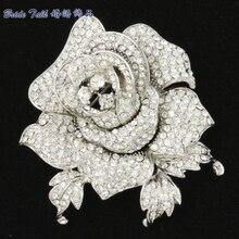 Кристаллы горный хрусталь Симпатичные Ясно Роза Цветок Брошь Брошь Контактный 2.1 «Свадебные FB1077