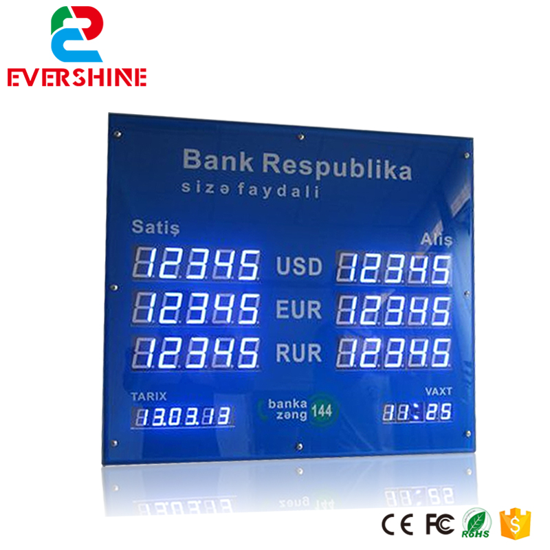 LED Electronic display screen 2.3'' curreny exchange rate board usage for bank led display 1 sign red digit number board indoor led exchange rate board language for kazakhstan