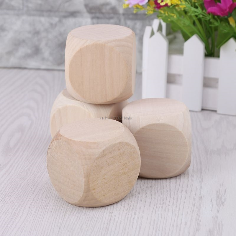 5cm 6 Sided Blank Wood Dice Party Family DIY Games Printing Engraving Kid Toys