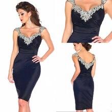 Marineblau Kurz Luxus abendkleider Strass Sexy Party Kleid Satin Vestidos Coctel Kleid 2016 Shinning Frauen Sommerkleid