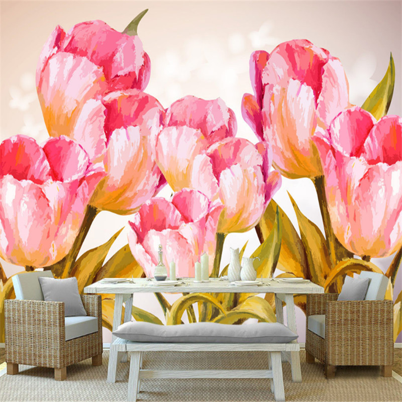 custom modern any size 3d non-woven mural wallpaper 3d hand-painted tulip watercolor floral background wallpaper for kitchen 3d wall paper mural with any size hand painted balloon lovely cartoon bedroom 3d mural wallpapers for children non woven mural