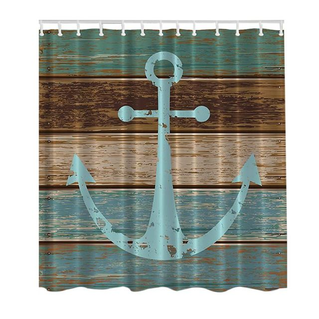 Picture Print Bathroom Set Fabric Shower Curtain With Hooks Decor Collection Nautical Anchor Rustic Wood