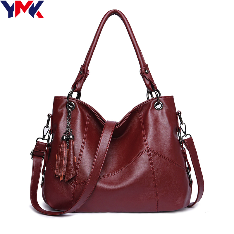 YMK Genuine Leather Crossbody Bags For Women Handbags Casual Soft Shoulder Bag Famous Brands Ladies Tassel Messenger Bag women bag genuine leather handbags 2017 famous brands crossbody shoulder bag women messenger bags vintage tassel cowhide new 4