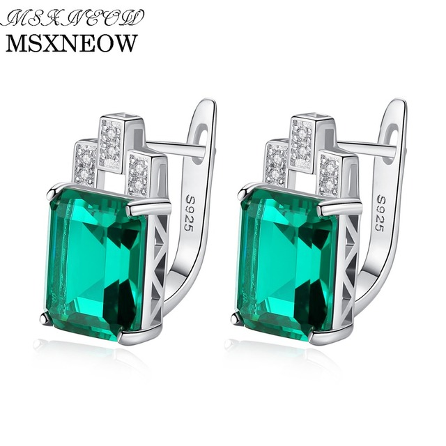 Msxneow Oval 1 8 Carat Natural Emerald Birthstone Stud Earrings Solid 925 Sterling Silver Fine Jewelry For