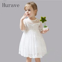 Hurave 2017 Infant Kids Lace Embroidery Dress Half Sleeve New Girl Children Dress Cute Floral Dress