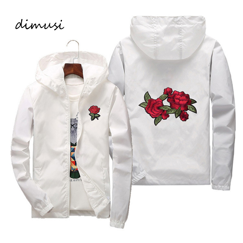 DIMUSI Mens Bomber Jackets Fashion Men Flower Embroidery Sunscreen Hoodies Coats Mens Slim Sportswear Windbreaker Jackets 7XL