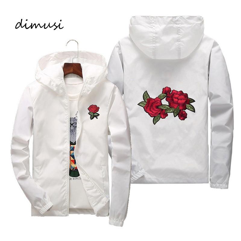 DIMUSI Mens Bomber Jackets Fashion Men Flower Embroidery Sunscreen Hoodies Coats Mens Slim Sportswear Windbreaker Jackets 7XL