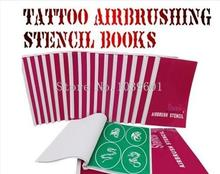 wholesale 3 BOOKS Temporary Airbrush Tattoo Stencil Template New Booklet total 24 books(2223 Designs) can be choose