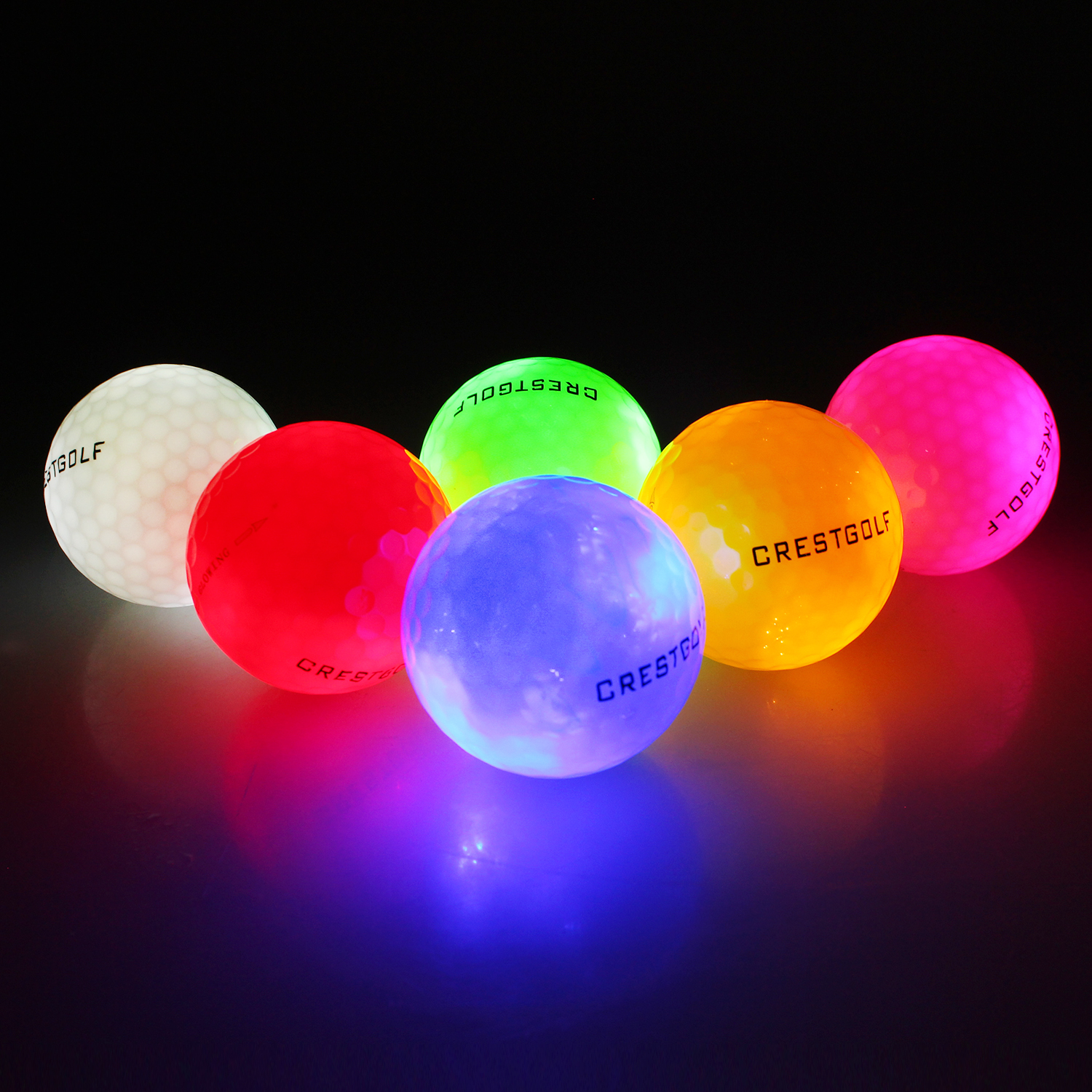(10 Pack) Crestgolf Flashing Glowing Golf Ball,Night Glow Flash Light Up 8 LED Golf Ball,six Color For Your Choice