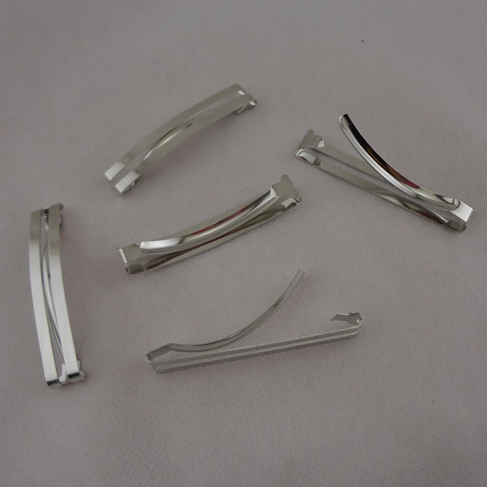 """20 шт серебро 6,0 см 2,3"""" плоские Двойные металлические заколки для волос Детские бантики для волос без свинца и никеля"""