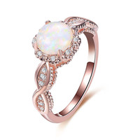 BOAKO Elegant Rainbow Opal Ring Fashion White CZ Wedding Jewelry Rose Gold Filled Engagement Promise Rings for Women anillos  1