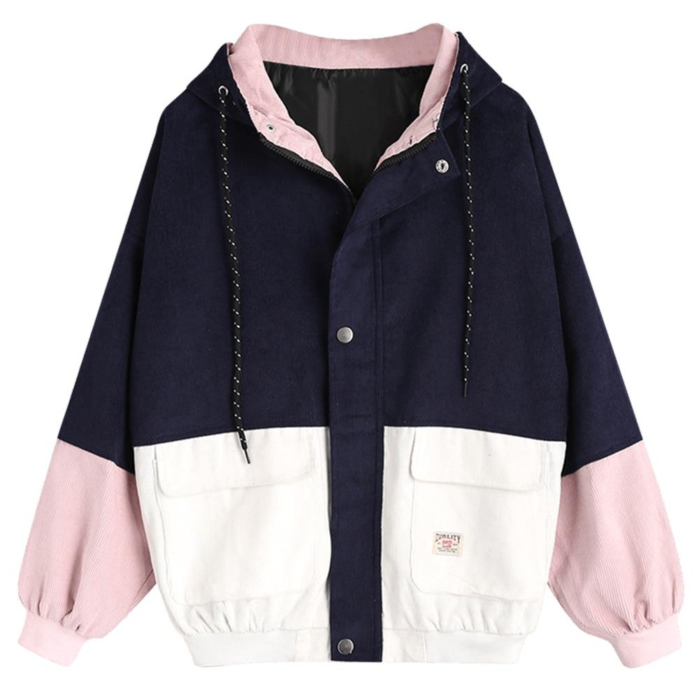 Belle épissure manches femmes Baseball collège vestes femmes Bomper veste printemps manteaux bloc à capuche velours côtelé vestes Outwear