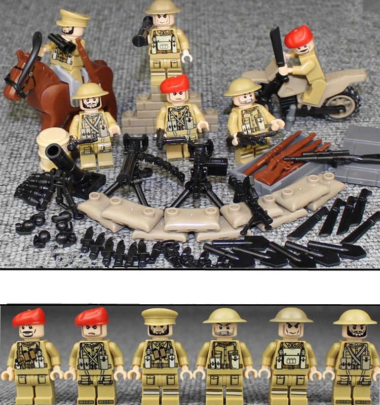 6pcs British Army WORLD WAR 2 Military Soldier Weapon Gun SWAT Building Blocks Bricks Toys Children Gifts Compatible With Lego