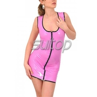 sexy Latex dress with front zip