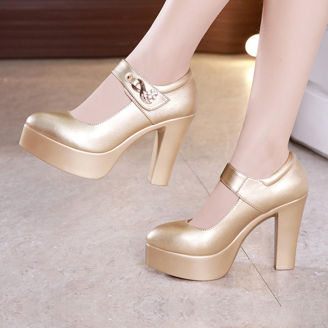 bed4c4428428 Block Heels Gold Silver Wedding Shoes Women Pumps 2019 Rhinestone 10cm High  Heel Shoes Ladies Party Dress Shoe 33 41 42 43