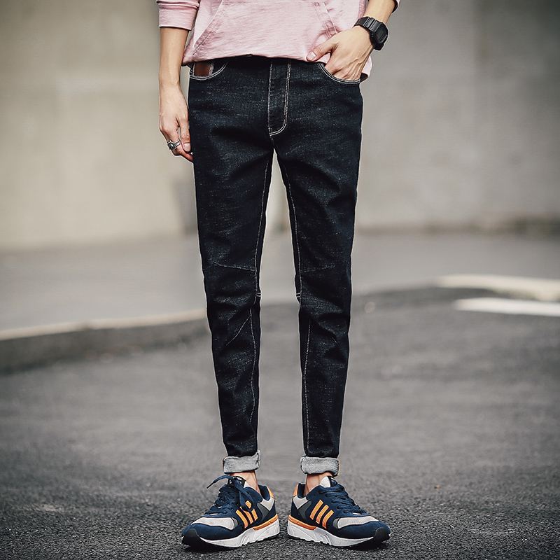 Men 39 S Fashion Casual Skinny Skinny Ripped Biker Denim Jeans Ankle Length Pants