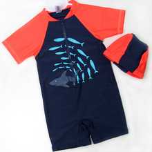 New Models Kid 1-12 year old Boys Rash Guards One Piece Swimsuit Black & Orange with fish Swimwear Swimming Cap summer wear