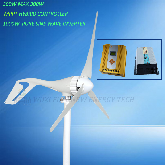 small power system 200w 12v 24v horizontal wind generator with MPPT hybrid controller & 1000w pure sine wave inverter airline ca 030 02