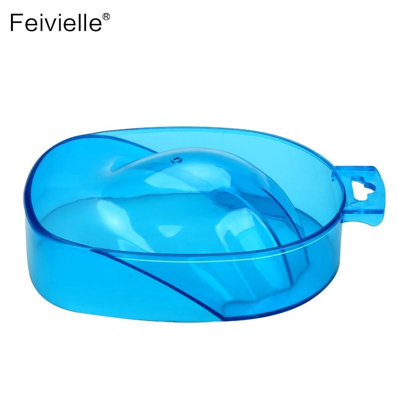 Feivielle New 1 Pcs Blue Color Durable Nail Art Hand Wash Remover Soak Bowl DIY Salon