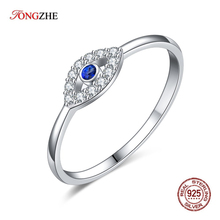 TONGZHE Charm Ring 925 Sterling Silver Couple Rings font b Blue b font White Gold Lucky