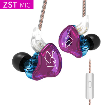 AK Original KZ ZST Colorful BA+DD In Ear Earphone Hybrid Headset HIFI Bass Noise Cancelling Earbuds With Mic Replaced Cable ZSN 1