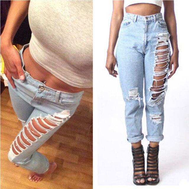 869c4b6d2a12b Femme Jeans pantalon Sexy droit Jeans femme déchiré Jeans pour femmes  américain vêtements et trous femme