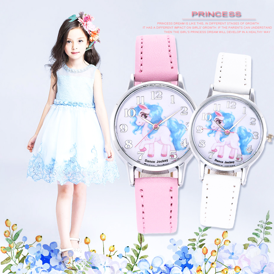 Unicorn Watch Childrens Watches Carton Rainbow Animal Kids Girls Leather Band Analog Alloy Quartz Watches Ladies Wristwatches Special Buy Watches
