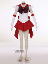 Anime sailor moon sailor mars rei hino japonés uniforme cosplay traje de halloween dress + collar + bowknot + guantes + head band