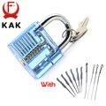 KAK Azul Transparente Visible Pick Cutaway Práctica Candado Con Broken Key Extractor Quitar Los Ganchos de Bloqueo Conjunto de Herramientas de Cerrajería