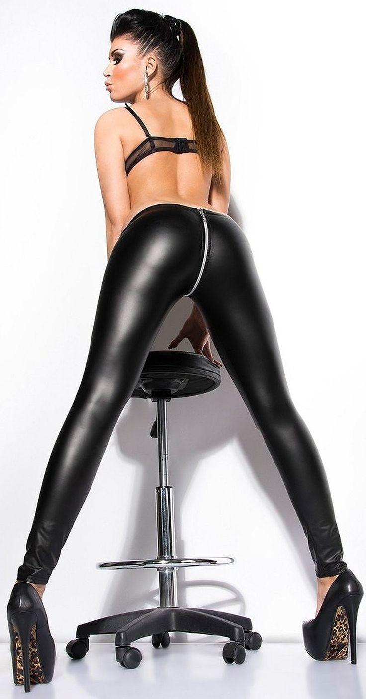 Sexy Zipper Open Crotch Pencil Pants Faux Leather Women Leggings Zipper Crotch Gothic Pencil Hot Pants Capris Club Dance wear 20 miss booty