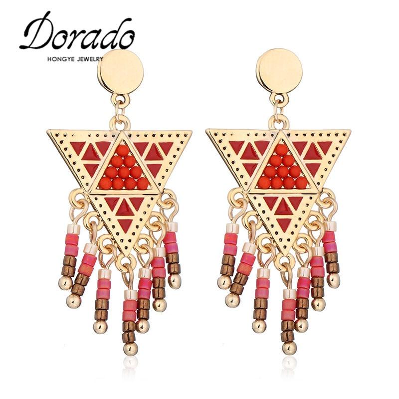 562aed57cc1f Dorado 2018 moda joyería oro plata Color lindo Color caramelo borla cuelgan  los pendientes para las mujeres regalos del partido