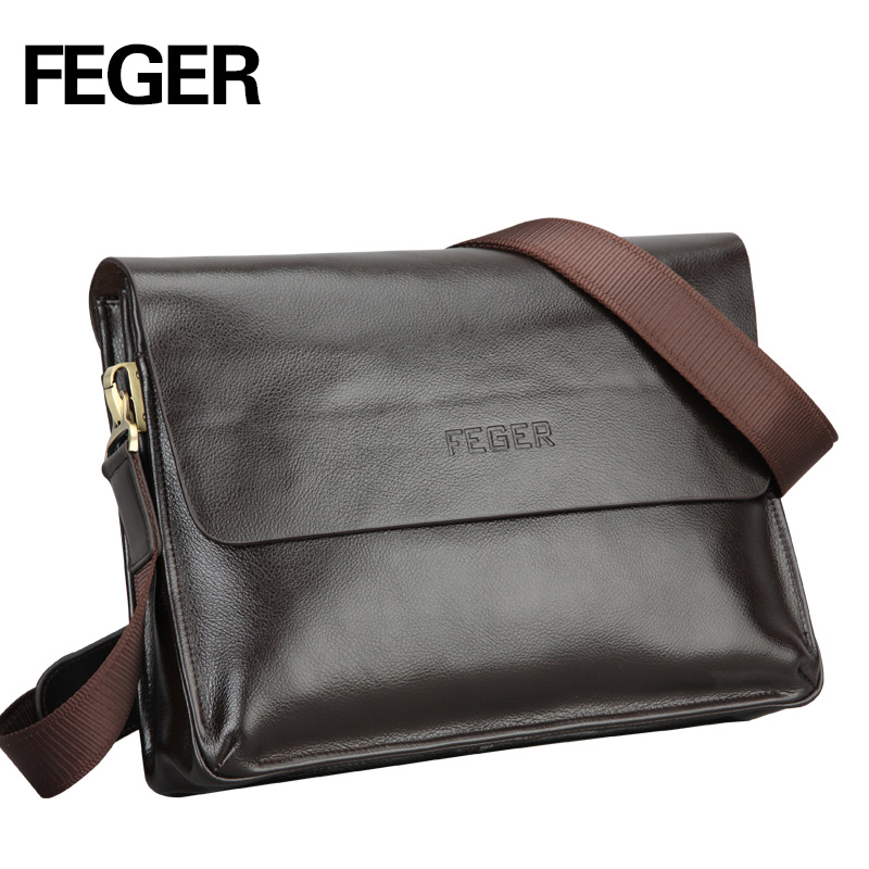 FEGER casual business pu mens messenger bag vintage fashion mens shoulder bag cross body bag
