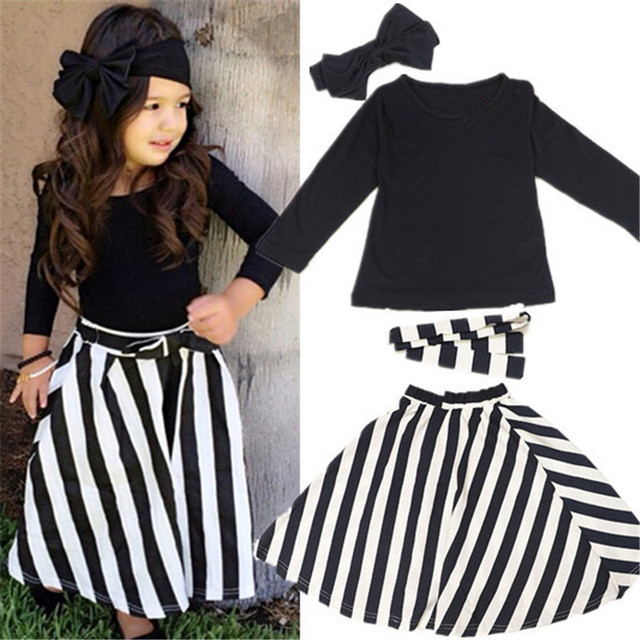Casual Child Outfits Girls Clothes Kids Sets Long Sleeve T-Shirt+Striped Skirt+Headbands+Belt 7 Years Kid Girls Clothes Suits