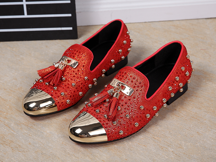 Red black bling bling rhinestone dress wedding loafers gold round toe mens italian leather shoes sapato masculino social flats