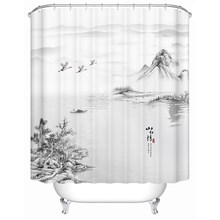 The Traditional Chinese Ink and Wash Painting Landscape Paintings Shower Curtain Black and White Artistic Conception with Hooks(China)