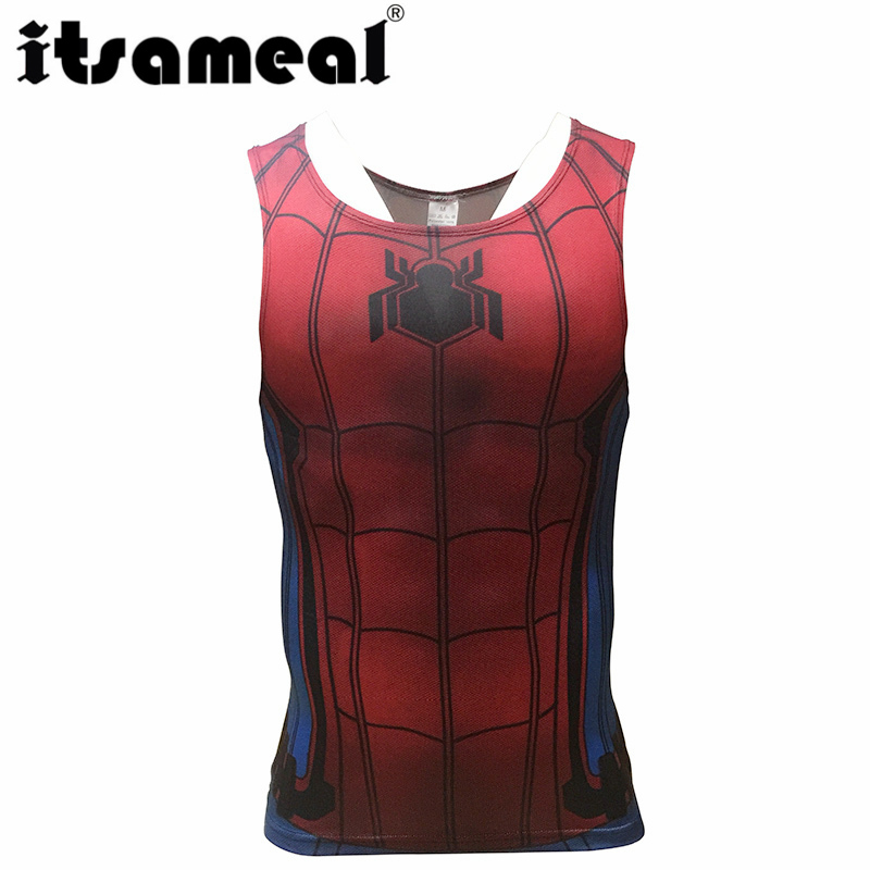 Spiderman Compression Men 3D Printed T-shirtsVests cosplay Tank Tops Sleeveless Fitness Body Building Male Crossfit Tops