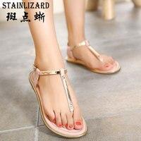 2017 Summer Women Sandals New Fashion Classic Thong Flat Sandals Bling Casual Beach Roman Shoes Wild