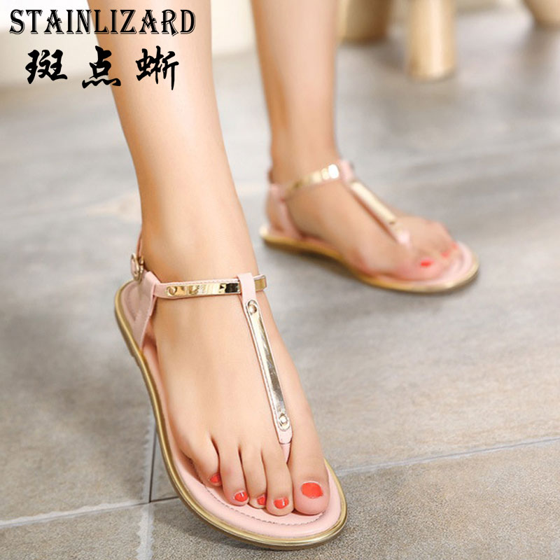 2017 Summer Women Sandals Bohemia New Fashion Classic Thong Flat Sandals Bling Casual Beach Roman Shoes Wild Women Shoes ST1007 new casual women sandals shoes summer fashion slip on female sandals bohemian wild ladies flat shoes beach women footwear bt537