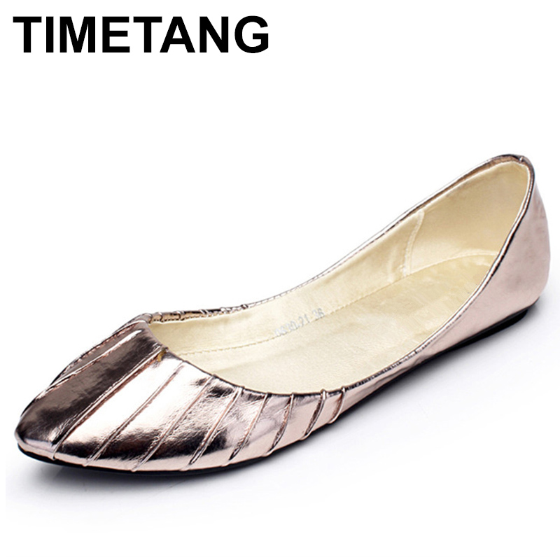 TIMETANG Gold Silver US Size 5-9 Comfort Leather Slip On Fashion Casual Pleated Ballet Flats Shoes C334