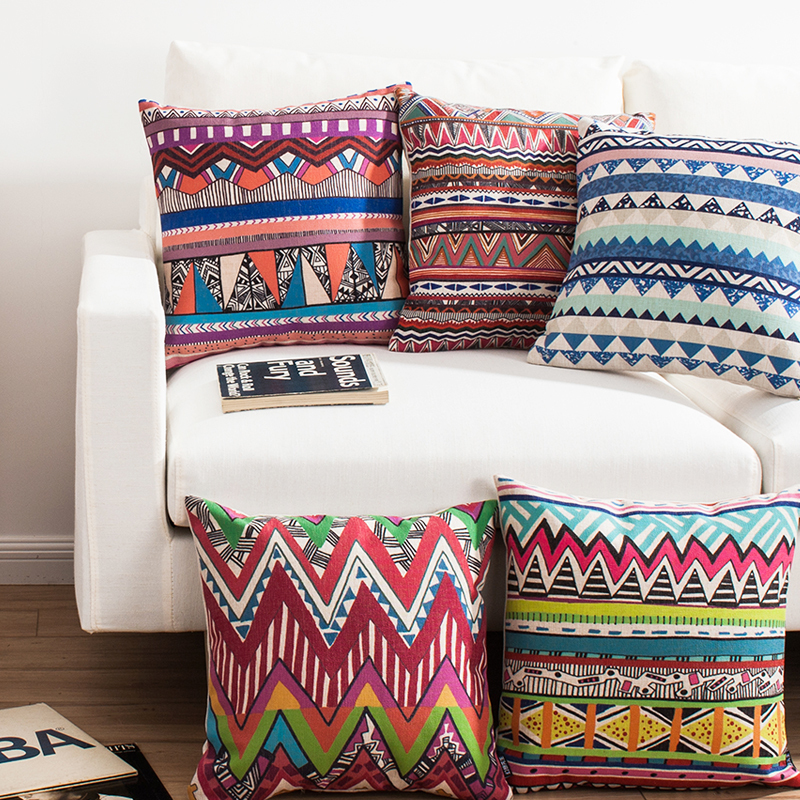 Perfect ... Free Shipping Colorful Aztec Geometrics Triangles Zigzags Stripes  Pattern Cushion Cover Home Car Decorative Throw Pillow ...