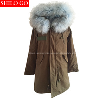 New Women Winter Army Green & Black Thick Parkas Plus Size Real Raccoon light blue Wolf Fur Collar Hooded Out wear coat