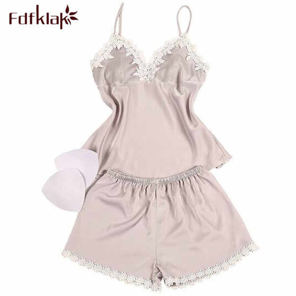 Fdfklak בגדי נשים 2017 משי מלאכותי קיץ ללא שרוולים סאטן אימונית משי סט פיג 'מה של פיג' מה משפחת פיג 'מות סט לילה WearQ375