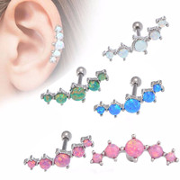 LINOSIR 2017 1pc Vintage Tragus Earring Piercing Ring 5 Shinning Opal Stone Ear Plugs And Tunnel