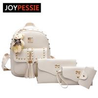 JOYPESSIE 4 Pcs Set Bag Girls Leather Backpack Pu Rivet Women Cute School Backpacks For Teenage