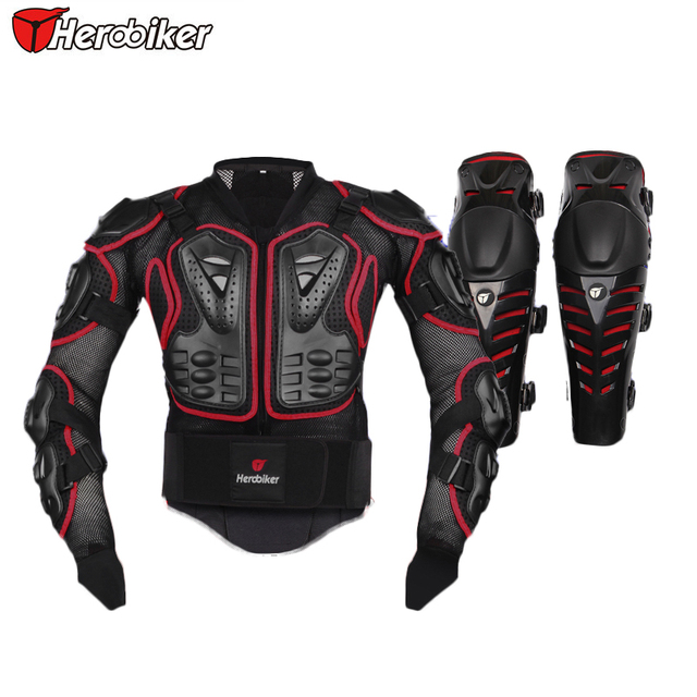 HEROBIKER Red Motorcycle Body Armor Protection Motocross Racing Spine Chest Protective Jacket + Red Knee Rrotector  Motorcycle